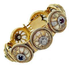 Sapphire Ruby Emerald Diamond Gold Bracelet