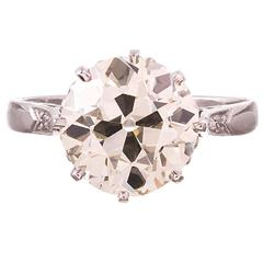 3.52 Carat Old European Cut Diamond Solitaire Ring