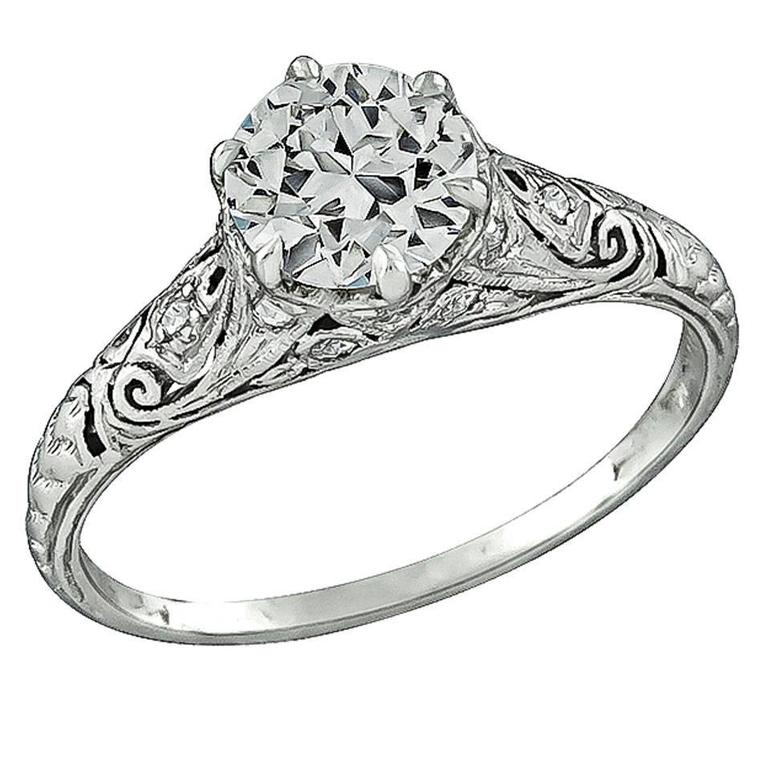Edwardian 0.91 Carat GIA Cert Diamond Platinum Engagement Ring