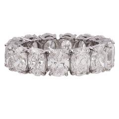7.65 Carat Oval Diamond Platinum Eternity Band Ring