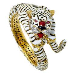 Frascarolo Enamel Ruby Diamond Gold Bangle Bracelet