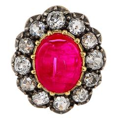 12.84 Carat GIA Cert Burma Ruby Diamond Gold Ring
