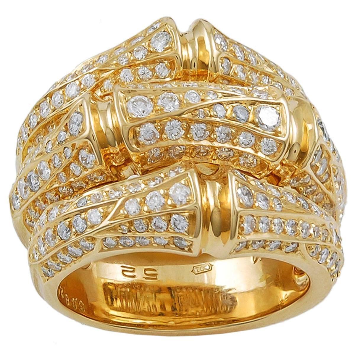 Cartier Diamond Platinum Bamboo Ring