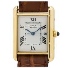 Cartier Vermeil Must de Cartier Tank Louis Quartz Wristwatch Ref 2413