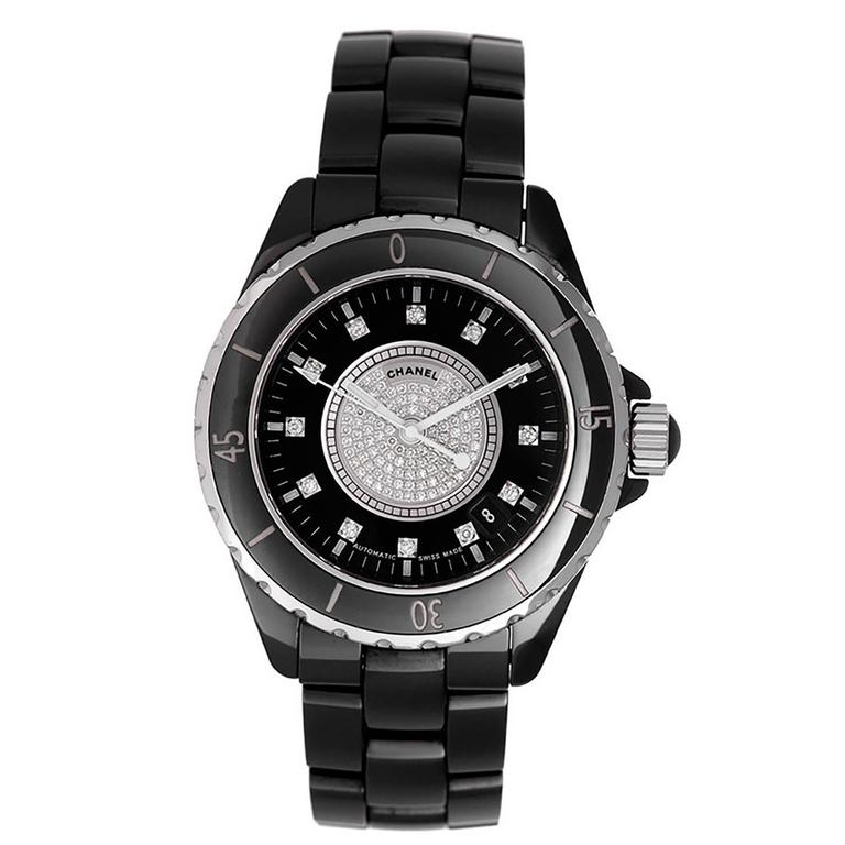 Chanel Automatic J12 39mm Black Ceramic Watch With Diamond Pave Face