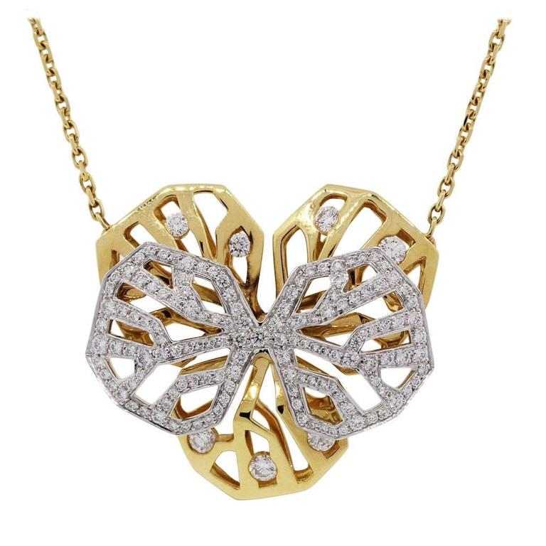 Cartier Diamond Two Color Gold Caresse D'orchidees Necklace