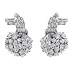 Tiffany & Co. ​Diamond Platinum Foliate Spray Earclips