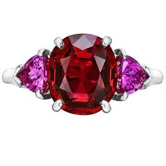 Red Spinel Pink Sapphire Platinum Ring