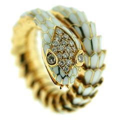 1970s Illario Enamel Gold Pave Diamond Coiled Serpent Ring