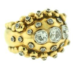 French Diamond Gold Bombe Ring