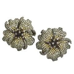 Green to Yellow Sapphire Diamond Gold Rose Earrings