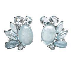 Aquamarine Diamond Gold Cluster Earrings