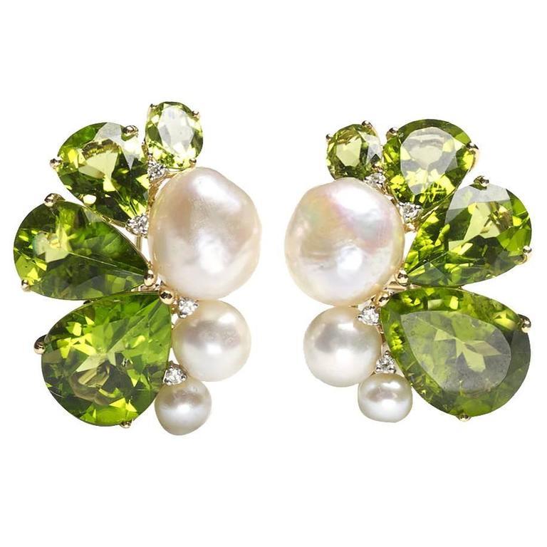 Peridot Pearl Diamond Gold Earrings For