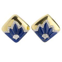 Lapis Lazuli Diamond Gold Earrings