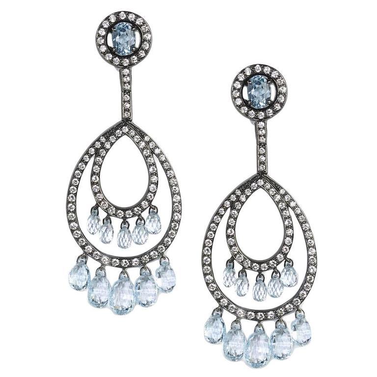 Blue Topaz Diamond Silver Gold Drop Earrings
