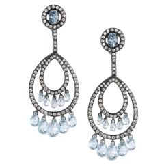 Blue Topaz Diamond Silver Gold Drop Earrings