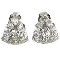 Art Deco Diamond Gold Platinum Earrings