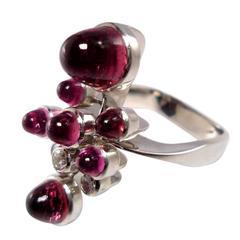 Rubelite Diamond Gold Ring