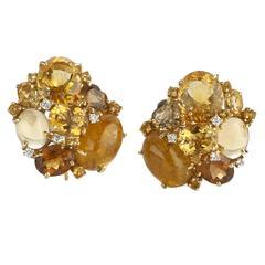 Citrine Tourmaline Gold Cluster Earrings