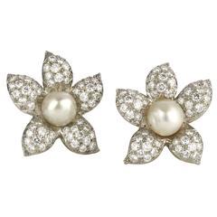 Pearl Diamond Gold Platinum Flower Earrings