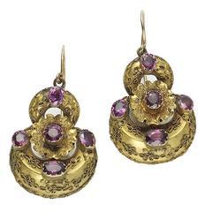 Victorian Garnet Gold Earrings