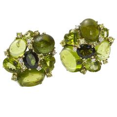 Tourmaline Peridot Diamond Gold Earrings