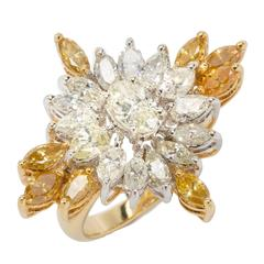 Fancy Diamond Yellow Gold Cocktail Ring