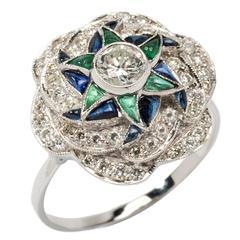 Saphir Smaragd Diamant Goldring