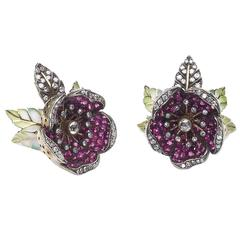 Moira Ruby Diamond Flower Earrings With Plique à Jour Enamel Leaves