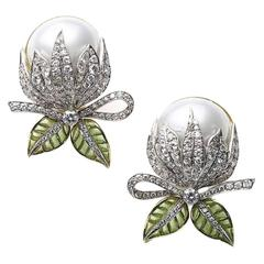 Mabe Pearl Plique à Jour Enamel Bud Flower Earrings