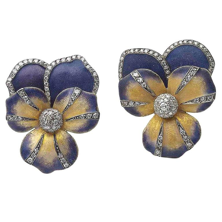 Enamel Diamond Silver Gold Pansy Earrings