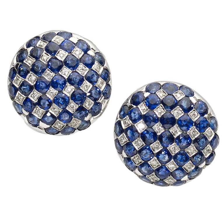 Sapphire Diamond Gold Checkerboard Earrings