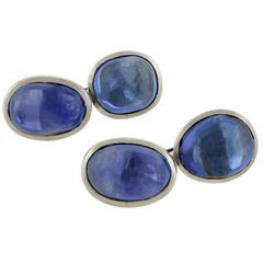Art Deco Natural Sapphire Cabochon Platinum Cufflinks