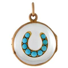 Victorian Rock Crystal Persian Turquoise Horseshoe Locket