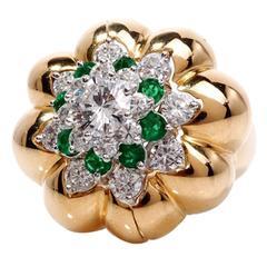 1970s Emerald Diamond Platinum Gold Insert Ring