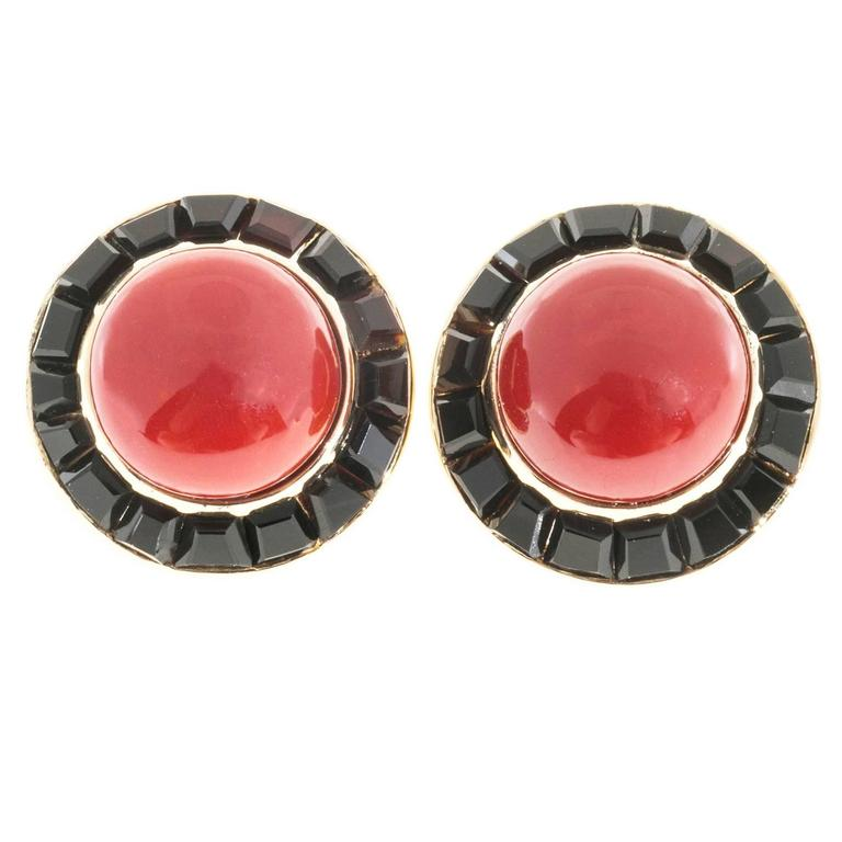 Cabochon Red Coral Black Onyx Gold Earrings