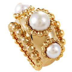 Chanel Pearl Gold Band Ring