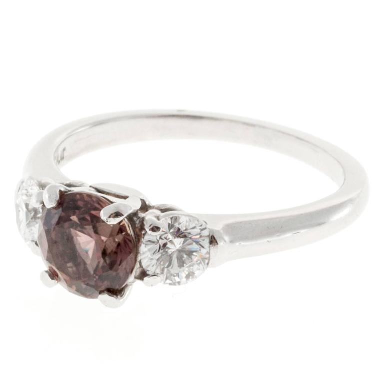 Natural Brown Pink Sapphire Diamond Platinum Engagement Ring 1