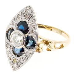 Sapphire Diamond Gold Platinum Marquee Ring
