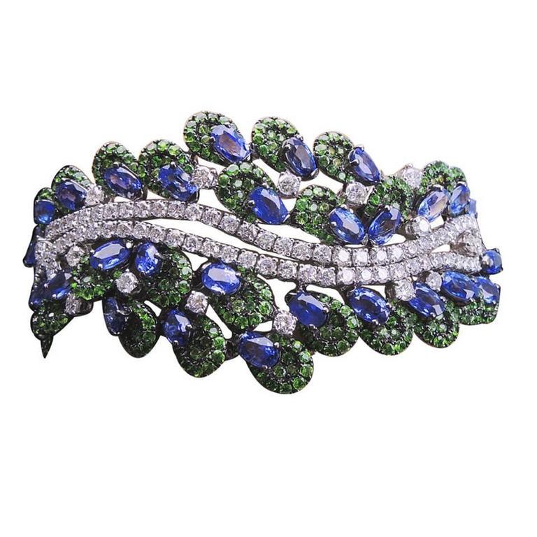 Tsavorite Sapphire Diamond Gold Bracelet For Sale