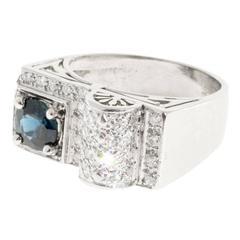 Round Blue Sapphire Pave Diamond Platinum Ring
