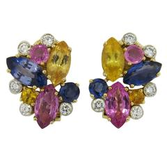 Aletto Brothers Multicolor Sapphire Diamond Gold Earrings