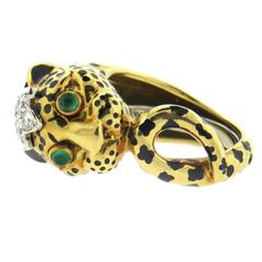 David Webb Enamel Emerald Diamond Gold Platinum Leopard Ring