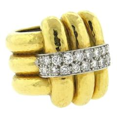 David Webb Diamond Hammered Gold Platinum Wide Ring