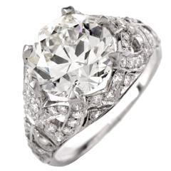 Antique 3.98 Carat Diamond Platinum Filigree Engagement Ring