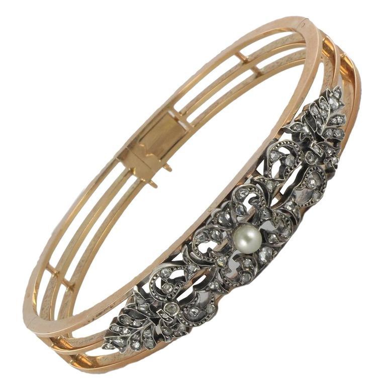 Napoleon 3 Antique Pearl Diamond Silver Gold Bangle Bracelet
