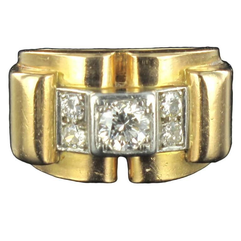 1940s Retro French Diamond 18 Carat Yellow Gold Platinum Bridge Tank Ring