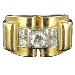 1940s Retro French Diamond 18 Carat Yellow Gold Platinum Bridge Tank Ring