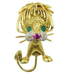 1960s Hammerman Bros. Ruby Emerald Diamond Gold Lion Brooch