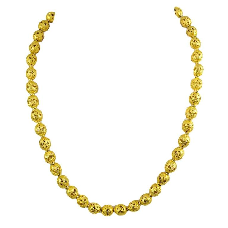 Ornate Open-Work Gold Bead Necklace For Sale at 1stdibs
